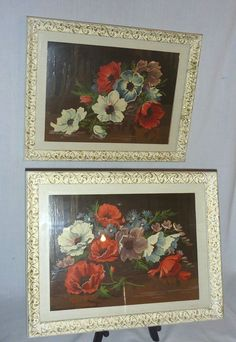 Pr Vintage Mid Century Modern Paint By Numbers Poppies Anemones Framed w/Glass #Realism