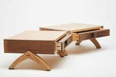 """kjungwoodwork: """"A pair of drawer boxes, entitled """"Twin Burrs"""", Chestnut burr tops on two hinged boxes housing a maple and walnut dovetailed drawer on each side, carved in walnut handles, on arching..."""