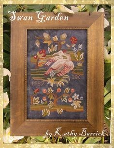 Kathy Barrick Swan Garden - Cross Stitch Pattern. Model stitched over two on 40 Ct. Shadow by Picture this Plus using NeedlePoint Inc Silks. (DMC alternates are