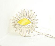 Weiße Daisy Blume Halskette in 925er Silber und gelb, Anweisung Natur Schmuck...