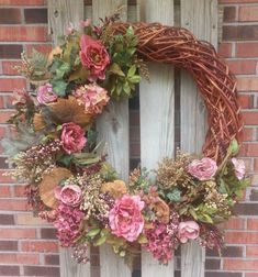 XL Pink Rose Grapevine Wreath by ToadHouseCreations on Etsy, $200.00