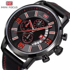 Men's Casual Multi-Function Watches Waterproof Stylish Chronograph Dial Leather Band Sports Wrist Watch – Robert Fitts Jewelry Casual Watches, Cool Watches, Watches For Men, Black Watches, Wrist Watches, Mens Gear, Cool Items, Inspirational Gifts, Sport Watches