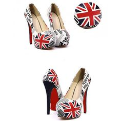 Sexy New Women Pumps Flag Print PU Leather Concealed Platform Stiletto High Heels White