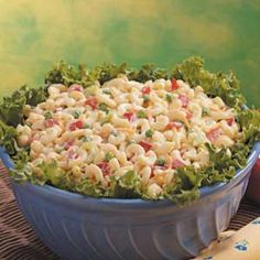 "Veggie Macaroni Salad Recipe -""When I bring this super salad to church dinners, there is usually nothing to take home,"" relates Lynn Cole of Sagle, Idaho. ""Add 2 or 3 cups leftover turkey or chicken to create a filling main-dish salad,"" she suggests. ""The dressing is so good that we use it on potato salads and even lettuce salads!"""