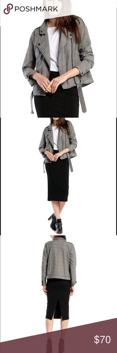 Michael Stars Moto Jacket You will love this houndstooth twill jacket! It has a notch collar with double barrel cuffs. The front zip closure is asymmetrical. It has a detachable belt and a split kangaroo pocket. Great with skinnies or a pencil skirt!! Michael Stars Jackets & Coats Jean Jackets