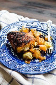 Crispy Chicken Skillet With Artichokes, Beets, Lemon & Olives // soletshangout.com #glutenfree #paleo #primal #chicken #grainfree #skillet #21DSD  #Whole30  #Dinner