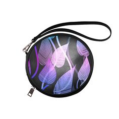 Colorful Tropical Leaves Round Makeup Bag (Model 1625)