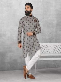 Linen Grey Color Printed Kurta Suit, mens kurta suits, mens kurta designs, mens kurta pyjama, mens linen kurta, mens kurta designs, mens indian fashion,