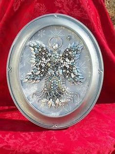 Vintage Silver Rhinestone Jewelry Christmas Tree Framed Snow Angel Art on ebay $349.00
