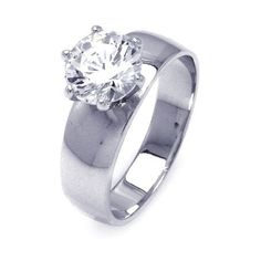 Brilliant Cut Solitaire Cubic Zirconia Wide Engagement Ring, Crafted with Solid Sterling Silver, Includes Gift Box and Special Pouch. silverjewelryforever. $39.87. engagement ring. sterling silver. top quality cubic zirconia. high polish
