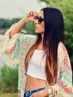 kimono + white crop top + jean shorts