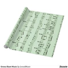 Green Sheet Music Wrapping Paper.  Printed in the USA #americanmade #leatherwooddesign #zazzle
