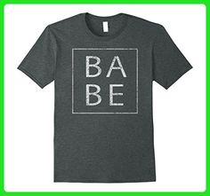 Mens Distressed Babe T Shirt Funny Retro Tee 3XL Dark Heather - Retro shirts (*Amazon Partner-Link)