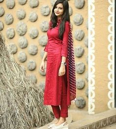 Simple red suit set with dupatta Fabric – cotton Sizes – . Churidar Designs, Kurti Neck Designs, Dress Neck Designs, Kurta Designs Women, Kurti Designs Party Wear, Dress Indian Style, Indian Dresses, Indian Outfits, Stylish Dresses