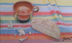 Taza y pan. Pastel