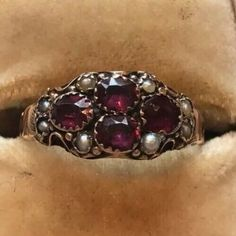 Antique Early Victorian 9 Carat Gold Almandine Garnet And Pearl Ring Pearl Diamond, Gold Pearl, Vintage Diamond, Garnet Rings, Garnet Gemstone, Amethyst, Seed Pearl Ring, Engraved Locket, Gold Platinum