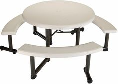 LIfetime Beige Stylish Design 44-inch Round Picnic Table Swing Outdoor Patio   #picnictable #roundplastictable #outdoor #party #furniture