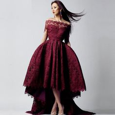 Cheap short front long, Buy Quality prom dresses 2017 directly from China prom dresses Suppliers: Elegant Wine Red Short Front Long Back Prom Dress 2017 Sexy Boat Neck  Vintage Sexy Arabic Style Lace  Evening Gowns