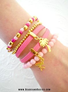 Pink Summer Ibiza Bracelet Handmade - Gold Flamingo Palm tree Charm - Make your own with the materials and DIY Tutorials from www.BeadsandBasics.com