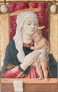 Nearly naked, Christ nestles into his mother's loving embrace. The Virgin wraps him gently in her veil and Christ tugs playfully at her pendant. Carlo Crivelli, Virgin and Child, about 1468-1470, on panel, 62.2 x 41 cm, The San Diego Museum of Art, Gift of Anne R. and Amy Putnam, 1947.3