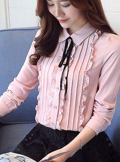Women'S daily work blouse - solid colored shirt collar blushing pink l / spring / fall / floral Hijab Fashion, Korean Fashion, Fashion Dresses, Kurti Neck Designs, Blouse Designs, Vetement Fashion, Blouse And Skirt, Work Blouse, Mode Hijab