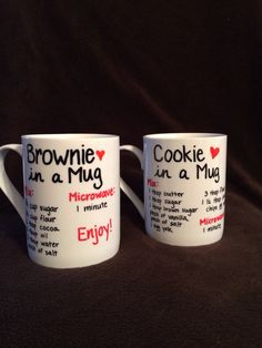 Brownie/Cookie in a Mug by AmandasBoutiqueInc on Etsy Cookie In A Mug, Brownie In A Mug, Brownie Cookies, Bff Gifts, Xmas Gifts, Craft Gifts, Mug Recipes, Baking Recipes, Mug Deserts