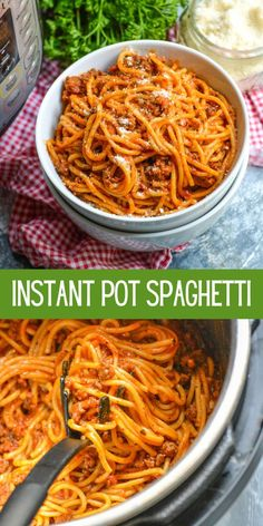 Instant Pot spaghetti means you can get the classic comfort food on the table in less time with only one pot. It turns the dish it into the ultimate in delicious convenience food that you will want to add to your regular rotation. #spaghetti #dinner #recipe