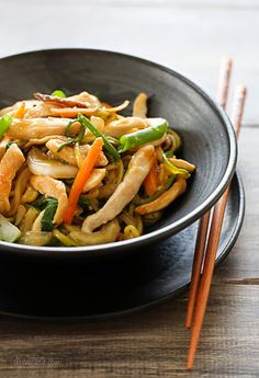 """Chicken Zoodle """"Lo Mein"""" For Two. Honestly, instead of using a spiralizer, I'd probably just chop up the zucchini and call it a day. I'm sure it would taste great!"""