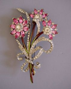 Flower bouquet brooch with pink and clear rhinestones from MorningGloryJewelry.com : Buy online now for $228.00