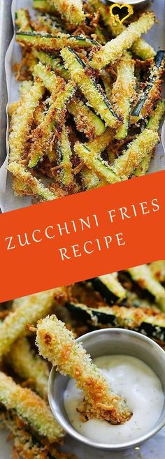 Crispy baked zucchini fries made with Japanese panko bread crumbs and Parmesan cheese -  Crispy baked zucchini fries made with Japanese panko bread crumbs and Parmesan cheese. Serve the zu - #baked #BbqGrill #bread #cheese #crispy #crumbs #fries #ItalianRecipes #japanese #MexicanRecipes #panko #parmesan #Pasta #zucchini<br> Zucchini Pommes, Zucchini Fries, Recipe Zucchini, Breaded Zucchini, Healthy Snacks, Healthy Recipes, Soup Recipes, Keto Recipes, Panko Bread Crumbs