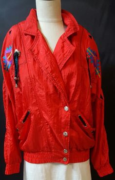 Lavon Red Wind Breaker Jacket Size Medium Southwestern Embroidery Pockets Vtg #lavon #Windbreaker #Casual
