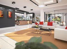 Projekt domu Padme 3 WZ 145,31 m2 - koszt budowy - EXTRADOM Mykonos, House Plans, Sweet Home, Villa, How To Plan, Plants, Living Room, Projects, Blueprints For Homes