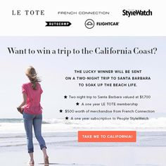 Win a trip and prize package from People StyleWatch, French Connection and Le Tote! #StyleHunters