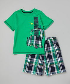 Look what I found on #zulily! Green 'Brontosaurus' Tee & Plaid Shorts - Infant, Toddler & Boys #zulilyfinds