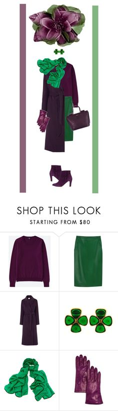 """""""71"""" by rara-nataliya ❤ liked on Polyvore featuring Uniqlo, agnès b., L.K.Bennett, Chanel, Black, Bloomingdale's, Tila March, autumn, brightcolors and purpleandgreen"""