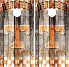 Tennessee Vols Weathered Wood Cornhole Board Skin Wrap Decal