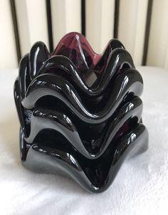4 Vtg Murano Italian Nested Purple AMETHYST Crimped Art Glass Ashtray Bowls