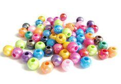 Lot de 100 perles acrylique rondes de couleurs mixtes est aléatoires  - 6 mm - PP3W