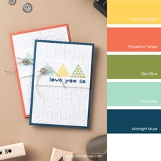 Stampin' Up! Color Combo: Daffodil Delight, Tangerine Tango, Old Olive, Pool Party, Midnight Muse #stampinupcolorcombos