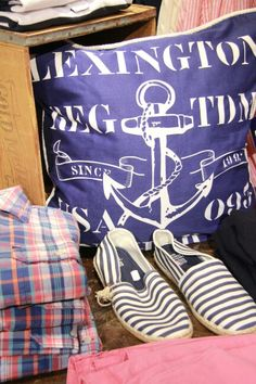 Lexington navy blue cushion. Nautical, marine classy style.