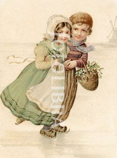 §§§ : Dutch Girl♥ and Boy Skating on Ice : 1906
