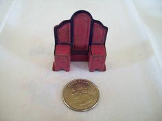 1920's Marx Tin Litho Miniature Doll House Furniture RARE Bedroom Vanity