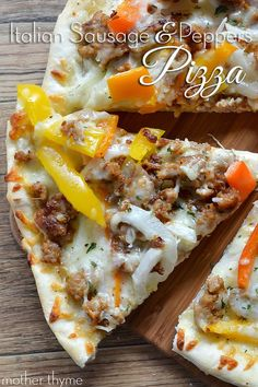 Make tonight pizza night with this Italian Sausage and Peppers Pizza with a homemade pizza crust, crumbled sausage, peppers and onions and a secret sauce. #sausagepizzarecipes