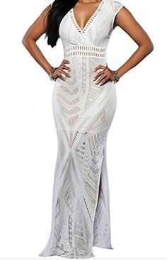 FQHOME Womens White Lace Nude Side Slit Maxi Dress Size S * Learn more by visiting the image link.