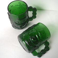vintage hot chocolate mugs, green glass snowman winter mugs, gift for kids children teens, retro set of 2 coffee mugs, - pinned by pin4etsy.com