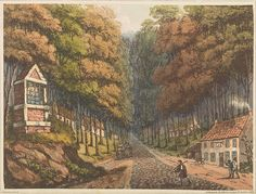 """Plate B from 'An Historical Account of the Campaign in the Netherlands' by William Mudford (1817). """"Entrance to the Forêt de Soigné, where the two roads from Brussels meet"""". Engraver James Rouse Source The Battle of Waterloo: An Historical Account of the Campaign in the Netherlands London:Henry Colburn, 1817."""