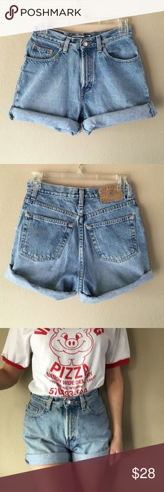 """Vintage high waisted shorts Vintage GAP high waisted shorts. Light wash. Mildly distressed. Size 24/25. Inseam unrolled 6.5"""", hips 19"""", rise 10.5"""", waist 12"""". Pictured rolled up. Can be made into cut offs. Some lights spots on the front legs, but it's unnoticeable if left rolled up or cut off. GAP patch on back. Only have one pair of these but they could fit multiple sizes! ❗️Not responsible for shorts not fitting!❗️NOT LEVIS. Levi's Shorts Jean Shorts"""