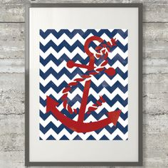 Nautical Chevron Anchor Watercolor Style by PrintsAndPrintables, $5.00