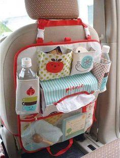 Organizer für die Auto-Babytasche – Cécile Gillet – – My World Travel Tray For Kids, Gillet, Car Seat Organizer, Car Organizers, Stretch Stiefel, Car Accessories Diy, Trash Bag, Cecile, Patchwork Bags