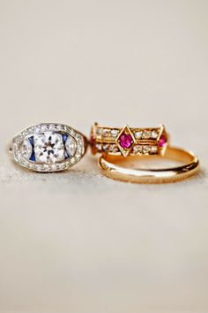 vintage diamond, sapphire and ruby rings